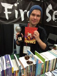 Paul Pope in San Diego 2014 with his Eisner