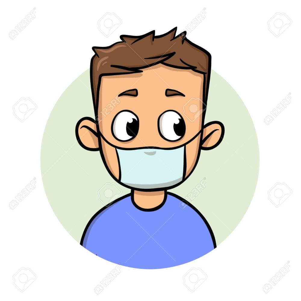 Funny cartoon guy wearing medical mask for respiratory disease protection. Cartoon design icon. Flat vector illustration. Isolated on white background.